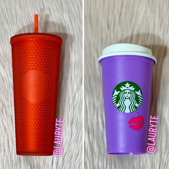 Starbucks Red Matte Studded And Lip Hot Cup Bundle